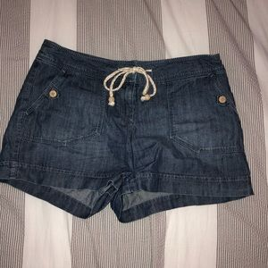 super soft denim shorts with tie-able waistband
